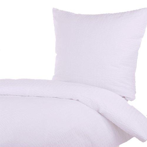Hotelbettwäsche Baumwolle Seersucker (Weiß, 135x200 + 80x80 cm) (Hotelverschluss, Bügelfrei, Pflegeleicht, Kochfest, Trocknergeeignet)