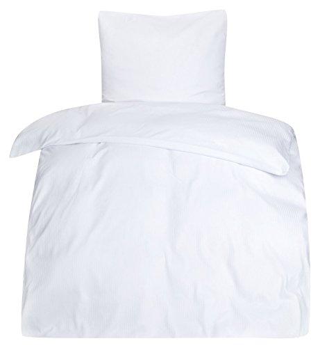 Moon Hotelbettwäsche Bettwäsche weiß Damast 5 mm Reißverschluss 95° 135x200 / 80x80