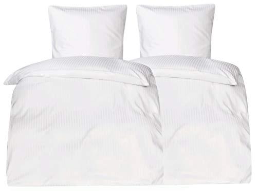 MOON-Luxury 4 TLG. Hotel Bettwäsche weiß Brokat Damast 10mm Streifen 2X 135x200 / 2X 80x80 100% Baumwolle YKK Reißverschluss Hotelbettwäsche 95° waschbar