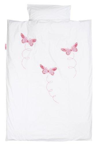 TAFTAN DS-011 Schmetterling rosa Bettwäsche Set für klein Bett, 100 x 135 cm