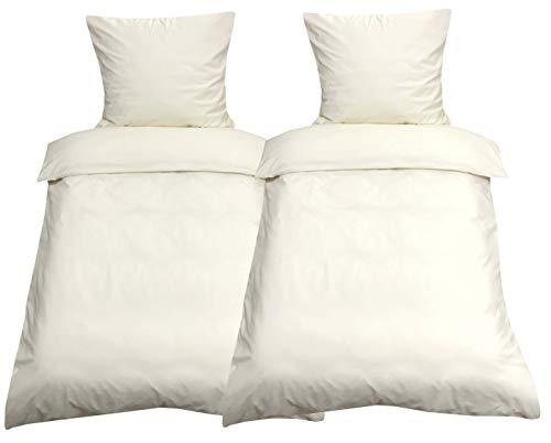 Leonado Vicenti Bettwäsche 135x200 4teilig Renforce 100% Baumwolle Uni mit Reißverschluss (Beige)