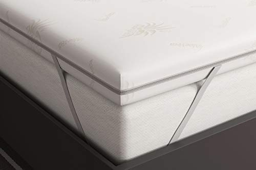 Matratzenauflage 180x200 cm - Viscoschaum RG 50 - Viskoelastische Visco 6 cm Hoch - 100% Rein Memory Foam Schaum Topper Matratzentopper Visco Auflage - Aloe Vera Bezug Waschbar