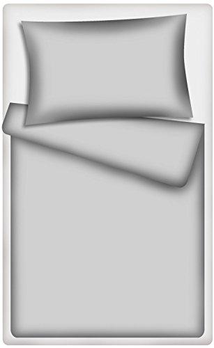 KiGATEX Kinderbettwäsche Uni 2-TLG. 100% Baumwolle 40x60 + 100x135 cm mit Reißverschluss(grau)