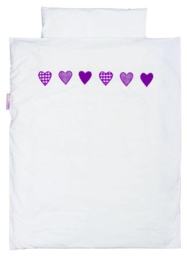 TAFTAN DS-187 Herzen Karierter Bettwäsche Set für klein Bett, 100 x 135 cm, in 8 farben verfügbar