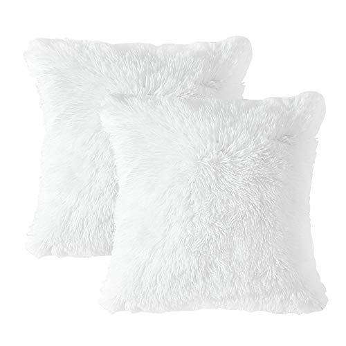 MIULEE 2er Set Soft Künstlich Pelz Throw Kissenbezüge Set Kissen Fall für Sofa Schlafzimmer Auto 18x18 Zoll 45x45 cm Weiß