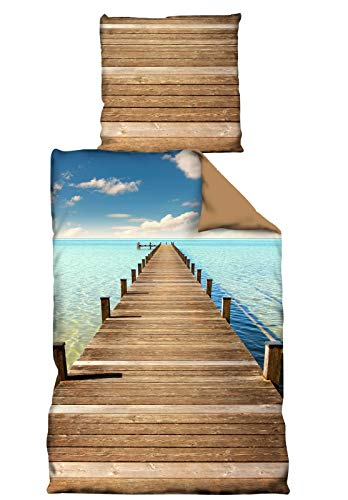 PremiumShop321 Wende Bettwäsche Microfaser 135x200 80x80 Stiego braun Karibik Steg Motiv