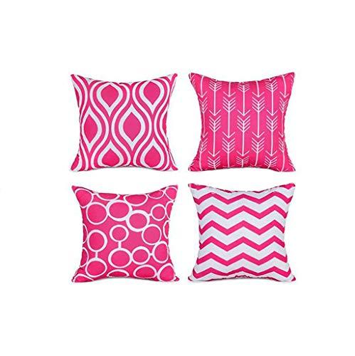 FeiliandaJJ 4er Set Dekorativ Kissenbezug 45x45cm,Geometrisch Drucken Kopfkissenbezug Kissenhülle,Sofakissenbezüge Pillowcase 18x18 für Couch Wohnzimmer Sofa Bed Auto (Pink)