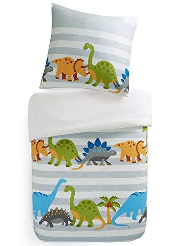 SCM Kinder Bettwäsche 135x200cm Dinosaurier 2-teilig Bettbezug Kopfkissenbezug 80x80cm Renforcé Junge Jugendliche Teenager Kinderbett Dinosaur Grün Blau