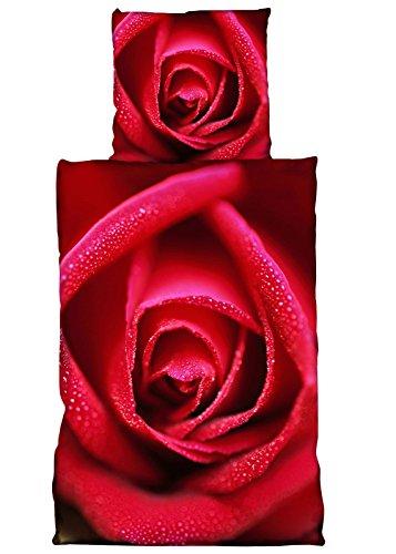 PremiumShop321 Wende Bettwäsche Microfaser 135x200/80x80 Rose rot