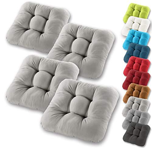 Gräfenstayn® 4er-Set Sitzkissen 40x40x8cm aus 100% Baumwolle (Bezug) mit Öko-Tex Siegel in vielen Farben, für Indoor und Outdoor mit dicker Polsterung (Grau)