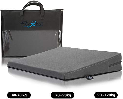 Flexlet Keilkissen orthopädisch - versch. Härtegrade für Dein Körpergewicht, 100% Baumwollbezug inkl. Tragetasche - Dunkelgrau - Sitzkissen - Sitzkeil [40-70kg]