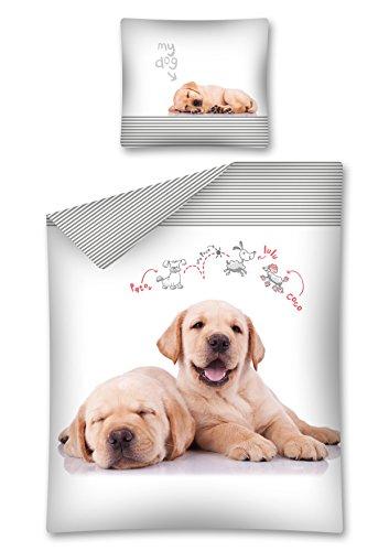 DP Bettwäsche Hundewelpen, Hunde Wendebettwäsche 100 % Baumwolle, 140 x 200 cm, 70 x 80 cm