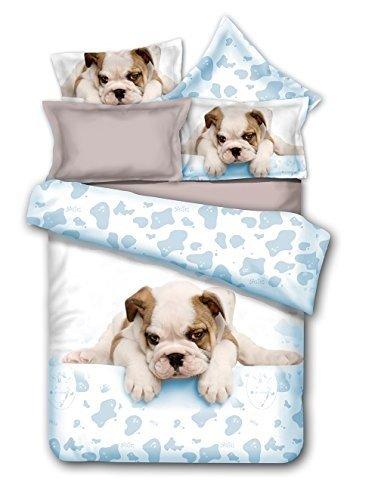 DecoKing 200x220 cm Bettwäsche mit 2 Kissenbezügen 80x80 Hund Welpe Bulldog Bettwäscheset Microfaser Reißverschluss Grumpy Puppy weiß grau Anilove
