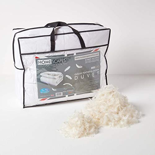 HOMESCAPES leichte Sommer-Bettdecke, 135 cm x 200 cm, Federdecke Wärmeklasse 2 - Steppbettdecke befüllt mit 85% Gänsefedern und 15% Daunen, Öko-Tex-Zertifiziert