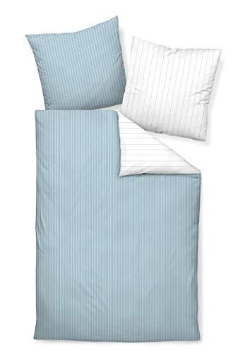 Janine Design Mako-Satin Bettwäsche modern Classic perlblau Kissenbezug einzeln 40x80 cm