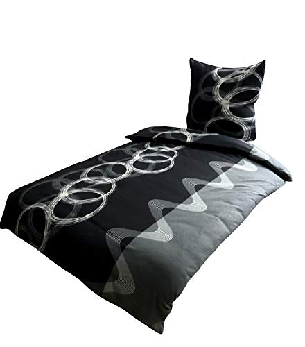 Leonado Vicenti Bettwäsche 155x220 4 teilig Fleece Winter grau schwarz weiß anthrazit Kreise Wellen kuschel Flausch Doppelpack