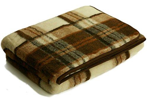 Wolldecken Schurwolle Karo 100% Merino Schafwolle (ca. 140 x 200 cm)