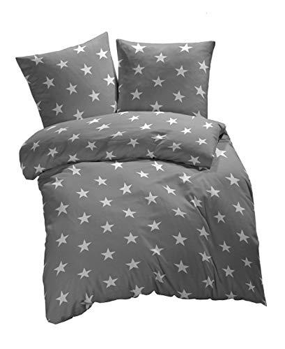 etérea Sterne, Galaxy Bettwäsche Bettbezug - weich und angenehm auf der Haut - 100% Baumwolle - Öko Tex 100-2 teilig 135x200 cm + Zwei Kissenbezüge 80x80 cm, Grau