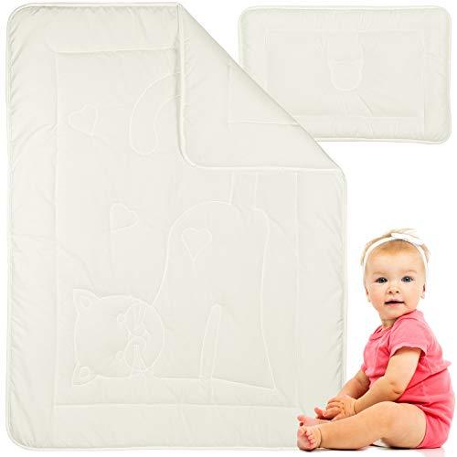 Preisgekröntes Baby Bettdecke und Kissen - Bamboo Bettdecke Set aus Hochwertige Materialen - Warm in Sommer, Kühl in Winter (100x135 + 40x60)
