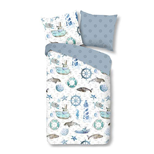 Good Morning! Bettwäsche Martijn Blue 1 Bettbezug 135x200 cm + 1 Kissenbezug 80x80 cm