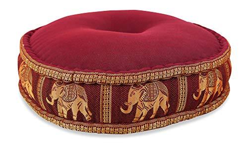 livasia Kapok Zafukissen, rundes Sitzkissen, Meditationskissen, Yogakissen (rot/Elefanten)