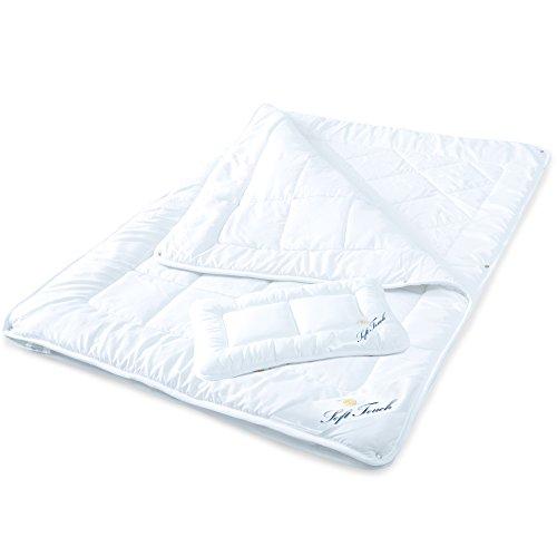 aqua-textil Soft Touch Kinder 4 Jahreszeiten Bettdecke 100 x 135 cm Mikrofaser Baby-Steppdecke Set mit 1x Kopfkissen 40 x 60 cm weiß Kids Decke 1000489