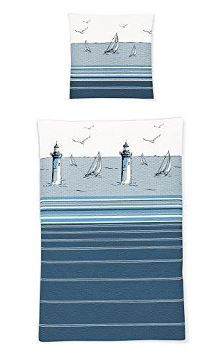 Irisette Seersucker Bettwäsche Calypso Leuchtturm 1 Bettbezug 155 x 220 cm + 1 Kissenbezug 80 x 80 cm