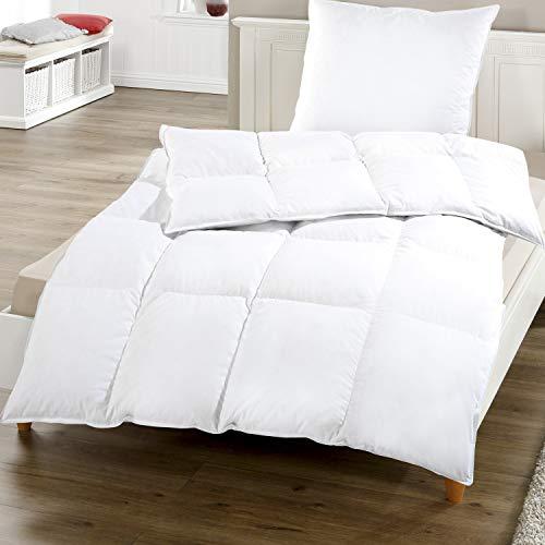 SunDeluxe Federn Daunen Kassettenbett Comfort 135 x 200 cm - Bettdecke mit 85% Federn 15% Daunen - Halbdaune Steppdecke mit hautsympathischem Bezug aus 100% Baumwolle - ÖkoTex100