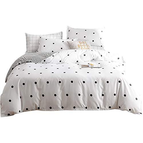 Bettwäsche Gepunktet Schwarz Weiß 155 x 220cm Microfaser Bettwäsche Set 2 TLG. Bettbezug mit Reißverschluss und Kissenbezug