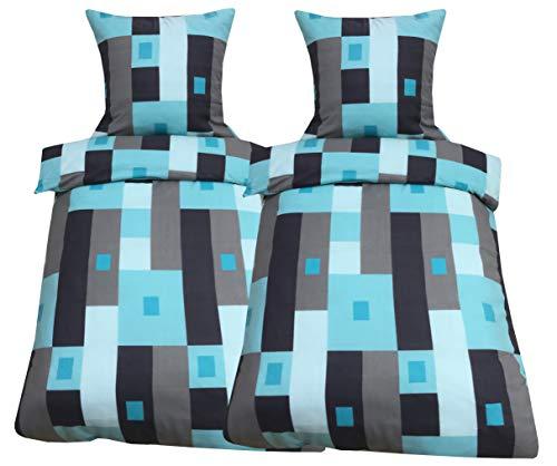 Leonado Vicenti Bettwäsche 135x200 4 teilig Fleece Winter Farbe Motiv Kuschel Flausch Doppelpack Sparset
