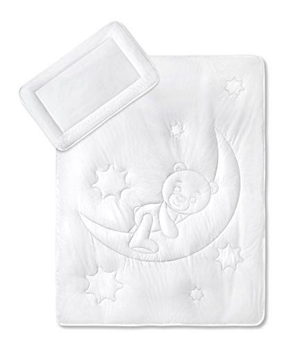KiGaTex Premium Kinder Betten Set Mondbärchen/Bezug 100% Baumwolle 40x60 + 100x135 cm Öko-Tex Zertifiziert
