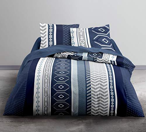 Today Enjoy ASUS-Bettwäsche HC3, Bettbezug 220 x 240 cm + 2 Kissenbezüge, 100% Baumwolle, 57 Fäden, Grau, Weiß, Blau, 240 x 220 cm