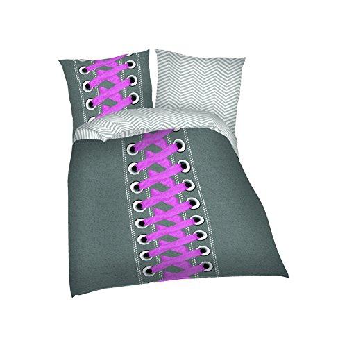 KiGaTex Bettwäsche Kinderbettwäsche Wendebettwäsche Microfaser Sneaker 135x200+80x80 cm (pink)