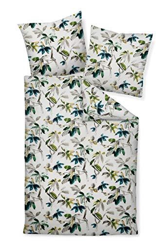 Janine Design Mako-Soft-Seersucker Bettwäsche Tango 20061 grün blau Oliv 1 Bettbezug 135x200 cm + 1 Kissenbezug 80x80 cm