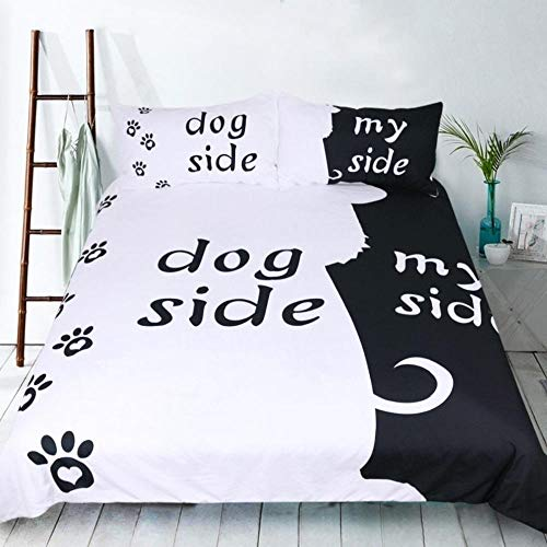 WPHRL Bettbezug Set Dog Side My Side,135x200cm Bettwäsche hundemotiv,Hundeseite und Meine Seite Bettbezug 3-teiliges Set, schwarz weiß mit Reißverschluss