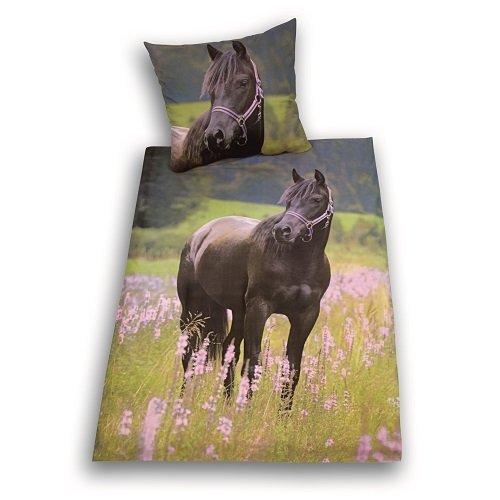 Herding 442485050 Bettwäsche Pferde Motiv, Kopfkissenbezug: 80 x 80 cm + Bettbezug: 135 x 200 cm, 100 % Baumwolle, Renforce