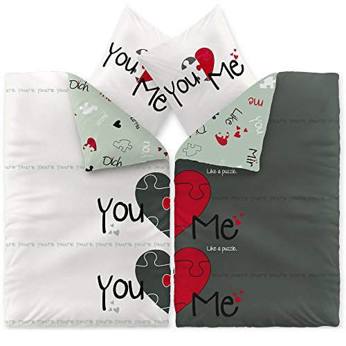 CelinaTex Fashion Bettwäsche 155 x 220 cm 4teilig Baumwolle Du & Ich Herz Weiß Grau Rot