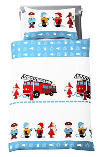 Dream Art Kids Renforce-Kinder-Bettwäsche, Feuerwehr, blau/weiß, 100 x 135 cm inkl. Kissen  40 cm x 60 cm