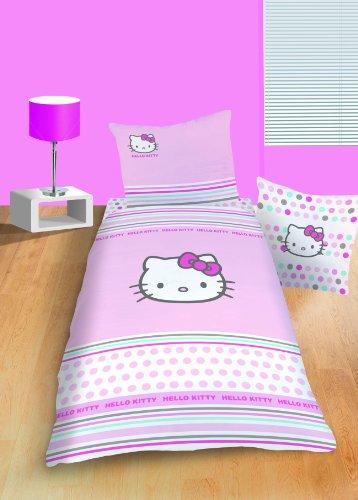 CTI 039552 Bettwäsche Hello Kitty Pretty / Biber / 135 x 200 + 80 x 80 cm