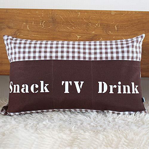 Sofakissen mit Taschen, 50x30 cm kariert braun (TV, Snack, Drink)   Kissen, Sofakissen, Kuschelkissen   Handarbeit