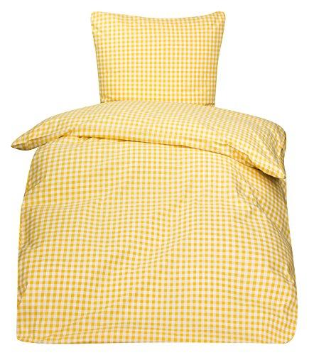 PremiumShop321 Bettwäsche Bauernkaro Landhaus Karo Mischgewebe Reißverschluss Nanette 135x200 / 80x80 (weiß/gelb)