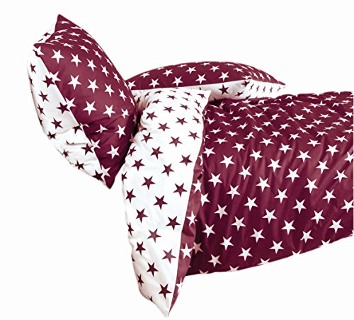Janine Design Biber Bettwäsche Sterne Beere 1 Bettbezug 240 x 220 cm + 2 Kissenbezüge 80 x 80 cm