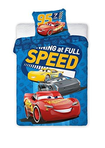 Kinderbettwäsche Disney III 2-teilig 100% Baumwolle 40x60 + 100x135 cm mit Reißverschluss (Cars Speed)