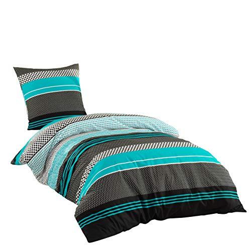 Sentidos Bettwäsche-Set 2-teilig Renforcé Baumwolle 135x200 cm mit Reißverschluss Bett-Bezug, 80x80 cm Kissen-Bezug Bett-Garnitur türkis schwarz weiß