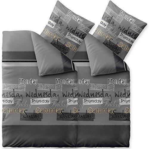 CelinaTex Fashion Bettwäsche 155 x 220 cm 4teilig Baumwolle Crazy Wörter Streifen Grau Schwarz Weiß
