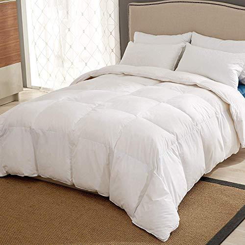 puredown® Feder- und Daunendecke Steppdecke, 4 Jahreszeiten Bettdecke, 100% Baumwolloberteil, Weiß 260x220cm