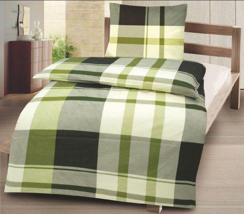 optidream Renforcé Bettwäsche Josef grün 1 Bettbezug 200 x 200 cm + 2 Kissenbezüge 80 x 80 cm