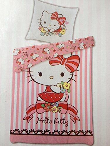 Bettwäsche Hello Kitty Bezug 135x200cm Kissen 80x80cm Wendebettwäsche Renforcé 50% Baumwolle 50% Polyester