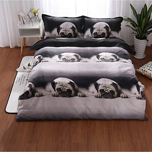 Bettwäsche Set, 3D niedlichen Tier Hund Mops Druck Bettwäsche zarte weiche 3pcs / set 160 * 210