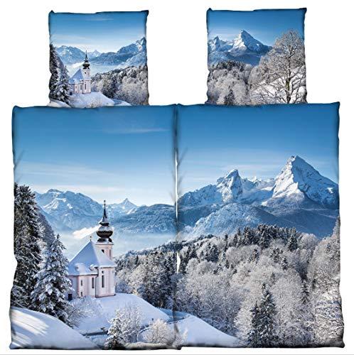 one-home Partner Bettwäsche 135x200 cm Schneelandschaft blau weiß Baumwolle Biber Set
